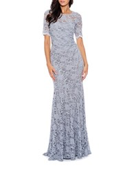 Decode 1.8 Short Sleeve Lace Mermaid Gown Silver