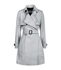 Burberry Leveson Cashmere Mid Length Trench Coat Female Light Grey