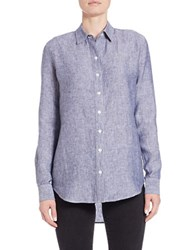 Lord And Taylor Linen Hi Low Casual Shirt Evening Blue