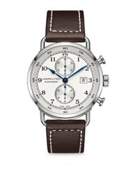 Hamilton Pioneer Auto Chrono Stainless Steel And Calf Leather Strap Watch Brown White