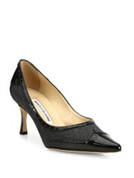 Manolo Blahnik Wickte Patent Leather And Flannel Point Toe Pumps Grey Black