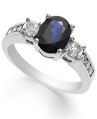 Macy's 14K White Gold Ring Sapphire 1 1 2 Ct. T.W. And Diamond 1 2 Ct. T.W. Oval Ring