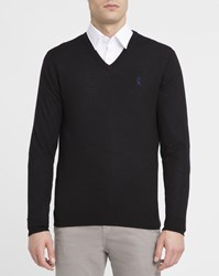 Vicomte A. Black Houndstooth Elbow Patches Merino V Neck Sweater