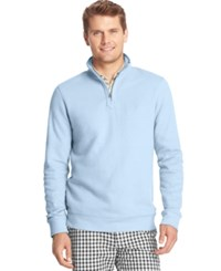 Izod French Rib Quarter Zip Pullover Blue Revival