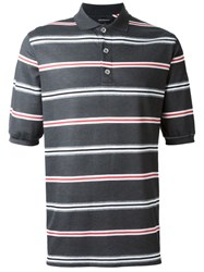Kris Van Assche Striped Polo Shirt Grey