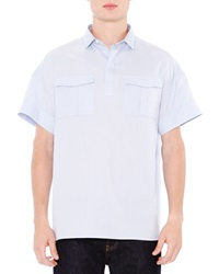 Valentino Oversized Oxford Short Sleeve Shirt Light Blue