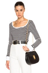 Frame Denim Boatneck Long Sleeve Tee In Stripes Black White