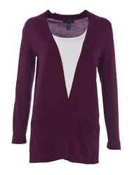 Lands' End Women S Fine Gauge Cotton Open Cardigan Aubergine