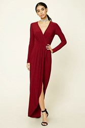 Forever 21 Surplice Front Maxi Dress Wine