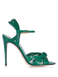 Gucci Allie Leather High Heel Sandals Green