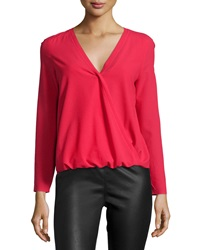 Cooper And Ella Alyssa Faux Wrap Blouse Deep Red