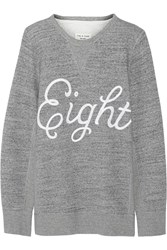 Rag And Bone Appliqued Cotton Fleece Sweatshirt Gray