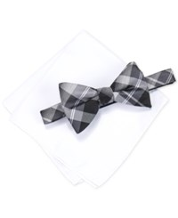 Alfani Men's Hudson Plaid Pre Tied Bow Tie And Pocket Square Set Only At Macy's Black