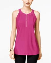 Inc International Concepts Front Zip Halter Top Only At Macy's Intense Pink
