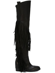 Cinzia Araia Thigh High Fringe Boots Black