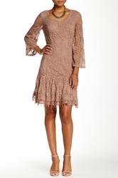 Soieblu Knit Lace Ruffle Hem Dress Brown