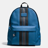 Coach Modern Varsity Stripe Campus Backpack In Pebble Leather Black Antique Nickel Denim Graphite