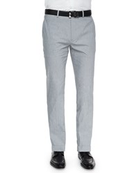 Theory Marlo Livonia Fine Striped Trousers Light Gray