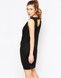 Ichi Sleeveless Ruched Neck Shift Dress With Cut Out Back Black