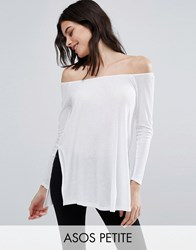 Asos Petite Off Shoulder Slouchy Top With Side Splits White