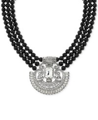 2028 Silver Tone Crystal And Black Beaded Collar Necklace