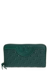 Tory Burch Women's 'Fleming' Quilted Lambskin Leather Continental Wallet Green Norwood