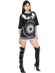 Fausto Puglisi Printed And Studded Cotton T Shirt Black Beige