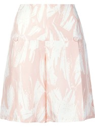 Yigal Azrouel High Waisted Flared Shorts Pink And Purple