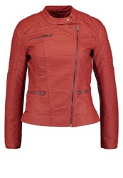 Only Onlnew Start Faux Leather Jacket Henna Red
