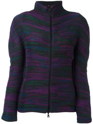 Issey Miyake Cauliflower Melange Zip Up Cardigan Pink Purple