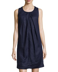 Neiman Marcus Sleeveless Linen Shift Dress Eclipse