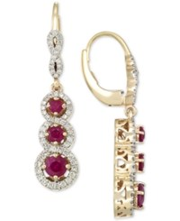 Rare Featuring Gemfields Certified Ruby 1 1 10 Ct. T.W. And Diamond 1 2 Ct. T.W. Triple Stone Infinity Drop Earrings In 14K Gold Only At Macy's Yellow Gold