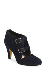Bella Vita Women's 'Niko' Water Resistant Double Buckle Pump Navy Suede