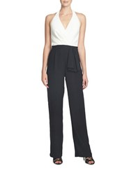 Cynthia Steffe Blake Colorblock Halter Neck Jumpsuit Green Black