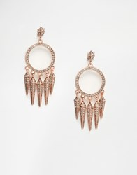 House Of Harlow Vibrations Chandelier Earrings Rose Gold Grey