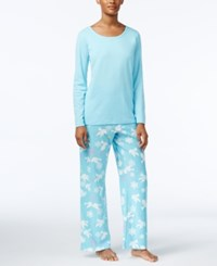 Charter Club Fleece Scoop Neck Top And Printed Pants Pajama Set Only At Macy's Teal Holiday Doves