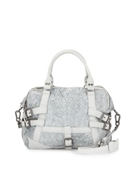 Ash Roxy Crackled Leather Satchel Bag White