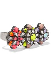 Shourouk Tyson Embellished Gunmetal Tone Three Finger Ring