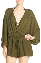 Vince Camuto Women's Cover Up Romper Dark Sage