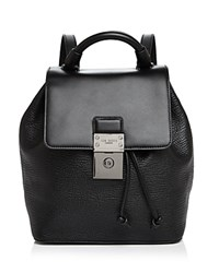 Ted Baker Malin Luggage Lock Leather Backpack Black Silver