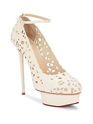 Charlotte Olympia Scribble Dolores Laser Cut Leather Platform Pumps Off White