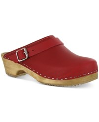 Mia Alma Wooden Clogs Women's Shoes Red