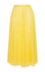 Rochas Layered Plumetis Tulle A Line Skirt Yellow