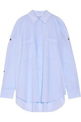 Helmut Lang Cutout Button Detailed Cotton Poplin Shirt Light Blue