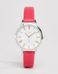 Oasis Pink Leather Watch Pink