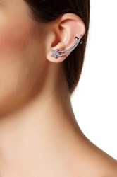 Free Press Stud And Shooting Star Crawler Mismatched Earrings Metallic