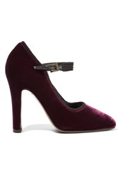 Etro Velvet Mary Jane Pumps Merlot