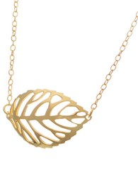 Lord And Taylor 18K Gold Sterling Silver Leaf Pendant Necklace