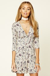 Forever 21 Floral Print Cutout Mini Dress Nude Blue