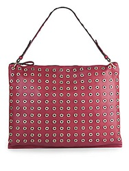 Sondra Roberts Studded Faux Leather Hobo Burgundy